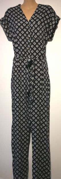 DOROTHY PERKINS NAVY PRINT BUTTONED JUMPSUIT NEW SIZE 14